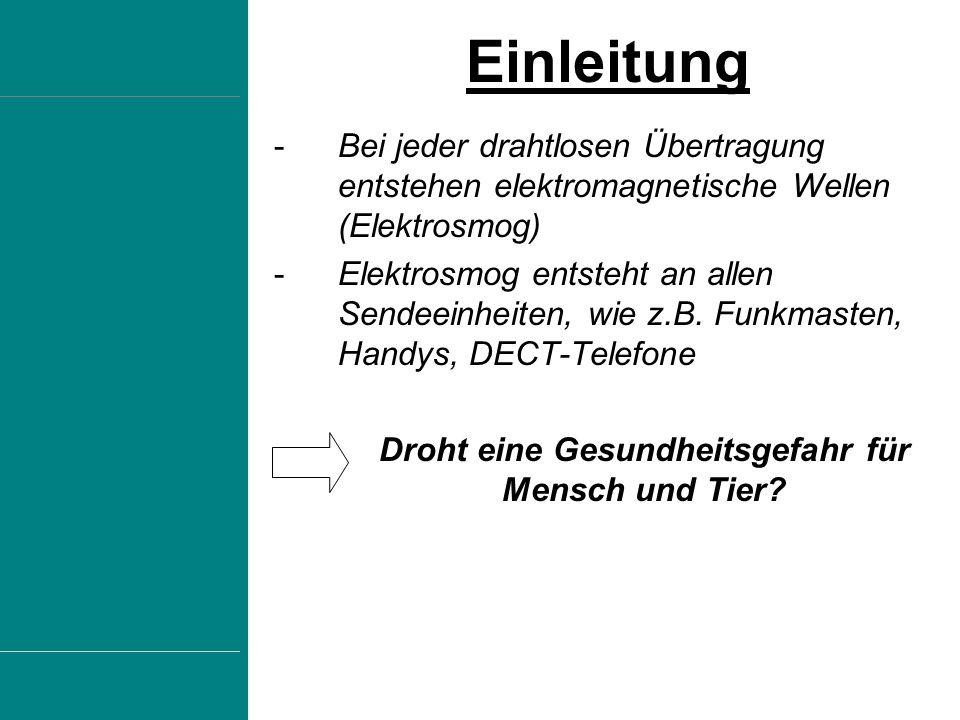 -In Deutschland gibt es rund 50.000 Mobilfunk-Basisstationen und 62 Millionen Handynutzer -Auch W-LAN Zugänge, Hotspots und Radio-und Fernsehantennen strahlen Funkwellen aus Stärke der Sendeleistung Allgemeines zu Funkwellen Fernsehantennen10-500.000 W Radioantennen10-100.000 W Mobilfunkantenne10-50 W Handys2 W W-LAN100 mW
