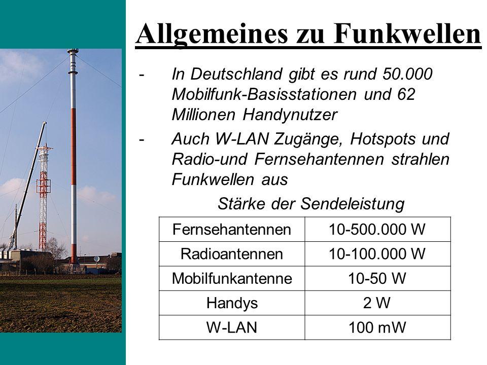 -In Deutschland gibt es rund 50.000 Mobilfunk-Basisstationen und 62 Millionen Handynutzer -Auch W-LAN Zugänge, Hotspots und Radio-und Fernsehantennen