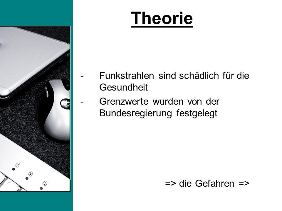 -Funkstrahlen sind schädlich für die Gesundheit -Grenzwerte wurden von der Bundesregierung festgelegt => die Gefahren => Theorie