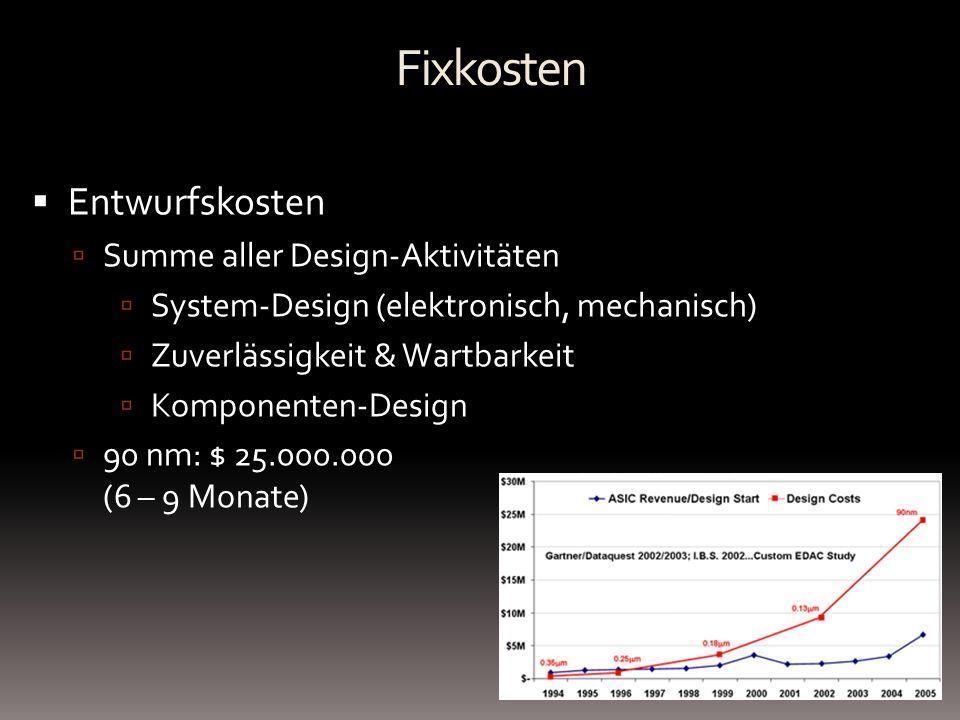 Fixkosten Entwurfskosten Summe aller Design-Aktivitäten System-Design (elektronisch, mechanisch) Zuverlässigkeit & Wartbarkeit Komponenten-Design 90 n
