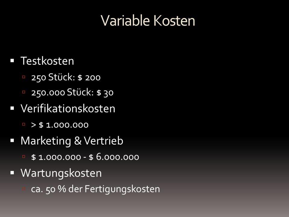 Testkosten 250 Stück: $ 200 250.000 Stück: $ 30 Verifikationskosten > $ 1.000.000 Marketing & Vertrieb $ 1.000.000 - $ 6.000.000 Wartungskosten ca. 50