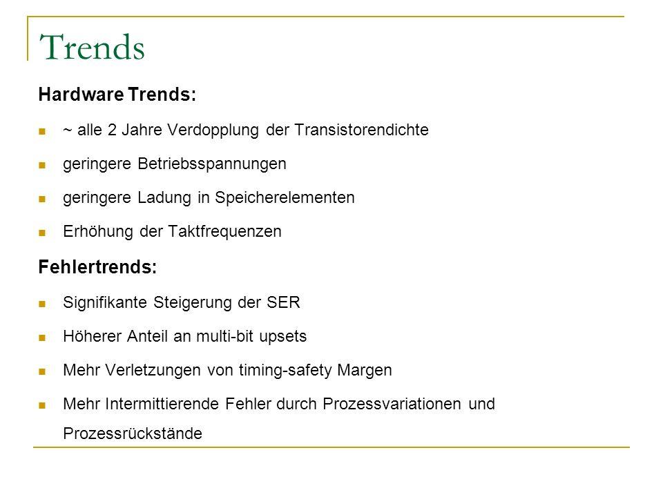 Trends Hardware Trends: ~ alle 2 Jahre Verdopplung der Transistorendichte geringere Betriebsspannungen geringere Ladung in Speicherelementen Erhöhung