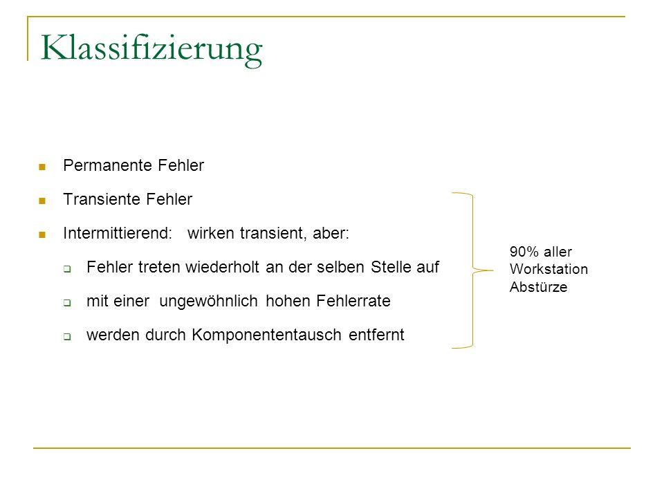 Klassifizierung Permanente Fehler Transiente Fehler Intermittierend: wirken transient, aber: Fehler treten wiederholt an der selben Stelle auf mit ein