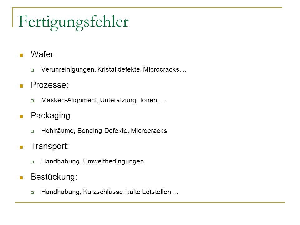 Fertigungsfehler Wafer: Verunreinigungen, Kristalldefekte, Microcracks,... Prozesse: Masken-Alignment, Unterätzung, Ionen,... Packaging: Hohlräume, Bo