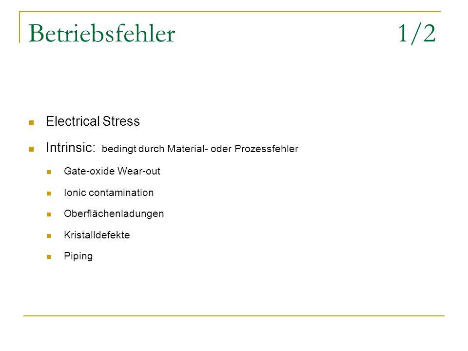 Betriebsfehler 1/2 Electrical Stress Intrinsic: bedingt durch Material- oder Prozessfehler Gate-oxide Wear-out Ionic contamination Oberflächenladungen