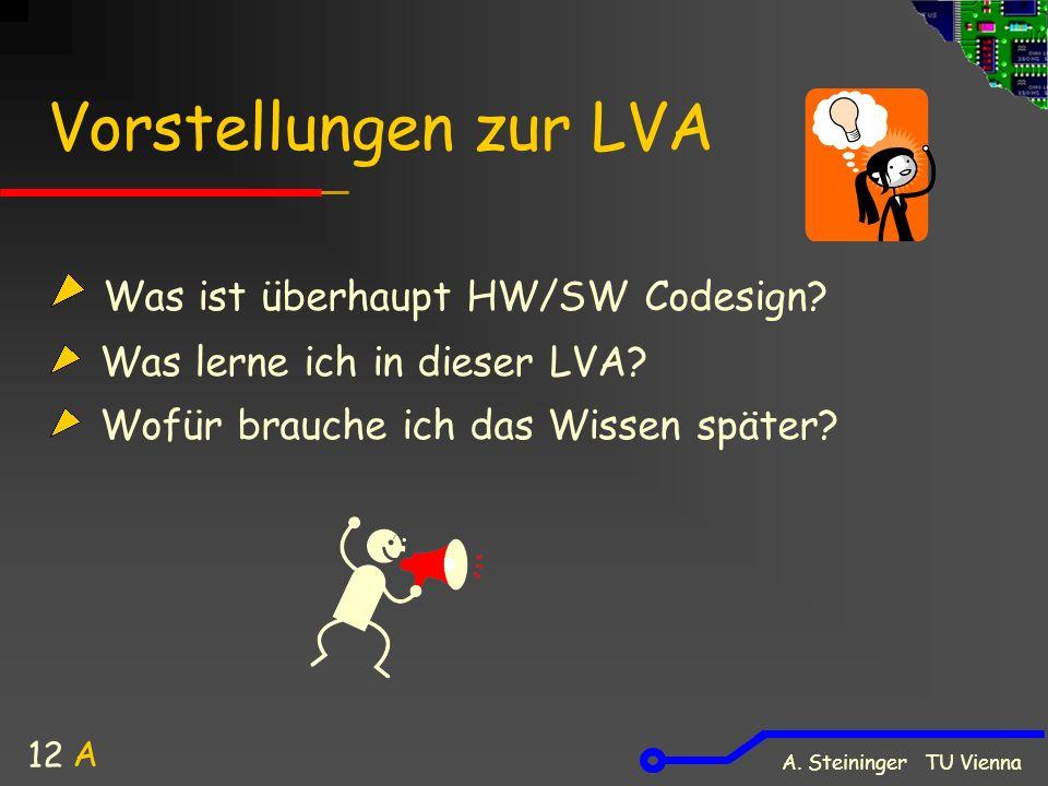 A. Steininger TU Vienna 12 Vorstellungen zur LVA Was ist überhaupt HW/SW Codesign? Was lerne ich in dieser LVA? Wofür brauche ich das Wissen später? A