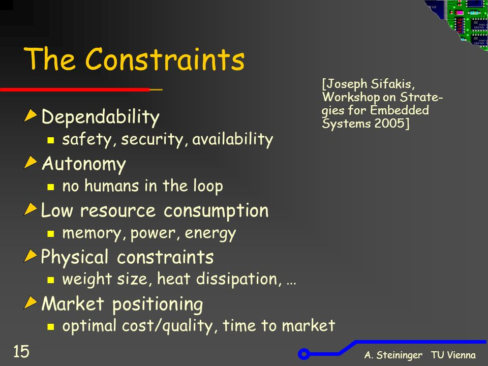 A. Steininger TU Vienna 15 The Constraints Dependability safety, security, availability Autonomy no humans in the loop Low resource consumption memory