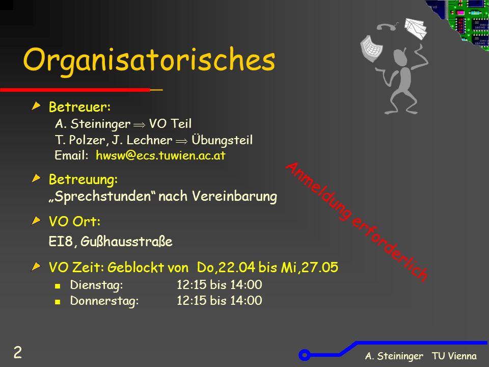 A. Steininger TU Vienna 2 Organisatorisches Betreuer: A. Steininger VO Teil T. Polzer, J. Lechner Übungsteil Email: hwsw@ecs.tuwien.ac.at Betreuung: S