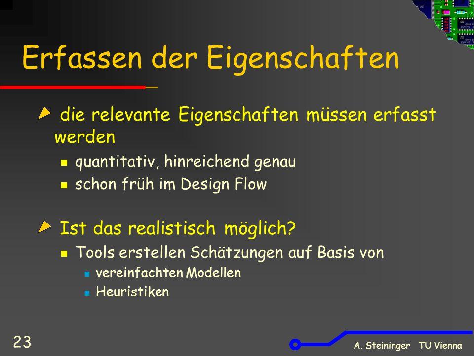 A. Steininger TU Vienna 23 Erfassen der Eigenschaften die relevante Eigenschaften müssen erfasst werden quantitativ, hinreichend genau schon früh im D