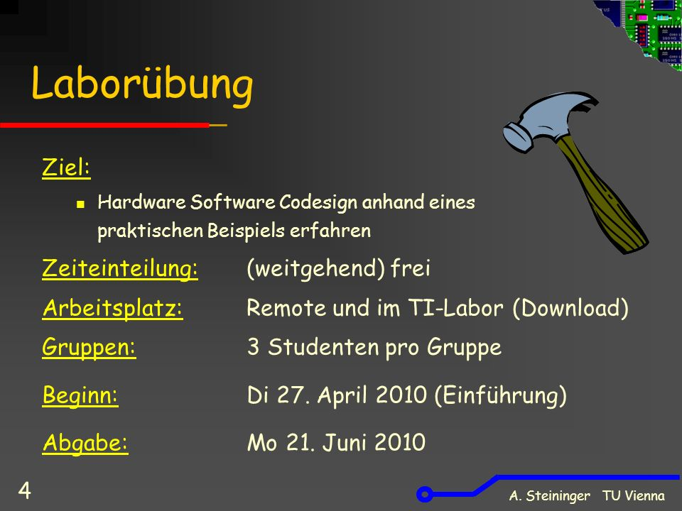 A. Steininger TU Vienna 4 Laborübung Ziel: Hardware Software Codesign anhand eines praktischen Beispiels erfahren Zeiteinteilung: (weitgehend) frei Ar