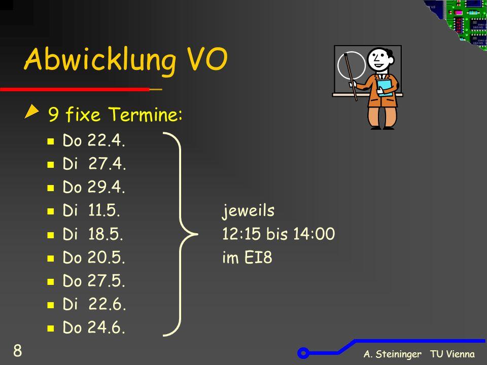 A. Steininger TU Vienna 8 Abwicklung VO 9 fixe Termine: Do 22.4. Di 27.4. Do 29.4. Di 11.5. jeweils Di 18.5. 12:15 bis 14:00 Do 20.5. im EI8 Do 27.5.