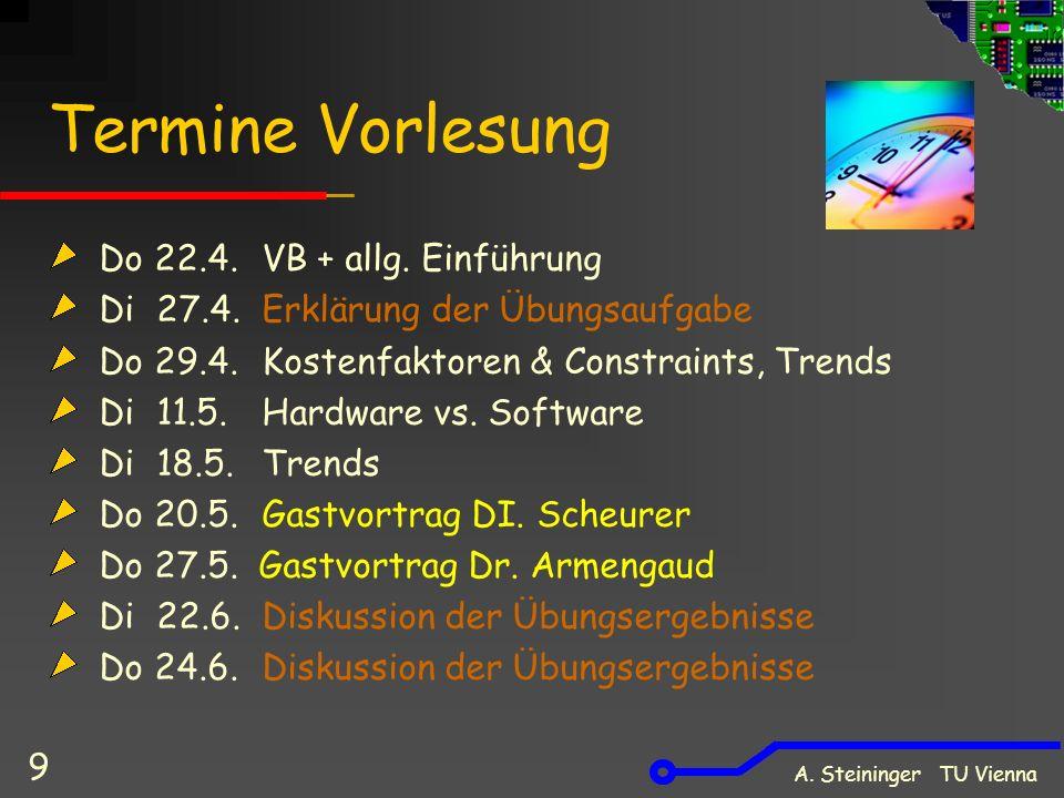A. Steininger TU Vienna 9 Termine Vorlesung Do 22.4.VB + allg. Einführung Di 27.4.Erklärung der Übungsaufgabe Do 29.4. Kostenfaktoren & Constraints, T