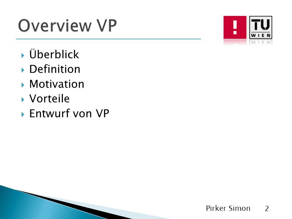 Überblick Definition Motivation Vorteile Entwurf von VP Pirker Simon 2