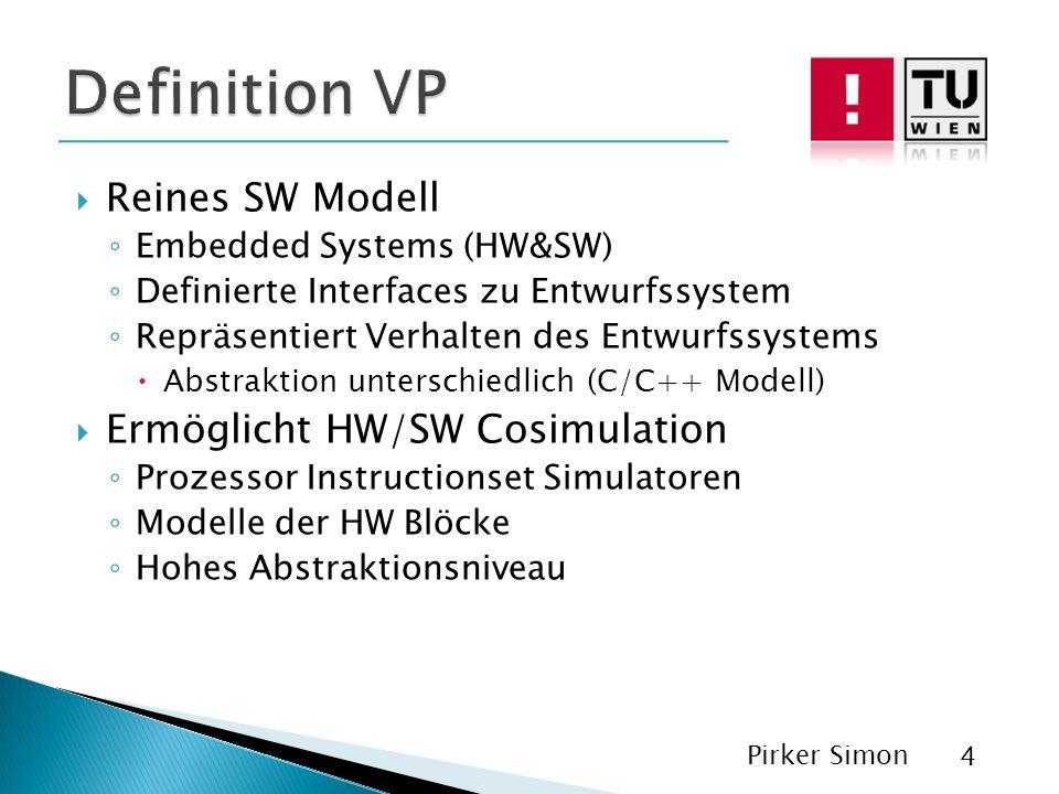 Reines SW Modell Embedded Systems (HW&SW) Definierte Interfaces zu Entwurfssystem Repräsentiert Verhalten des Entwurfssystems Abstraktion unterschiedlich (C/C++ Modell) Ermöglicht HW/SW Cosimulation Prozessor Instructionset Simulatoren Modelle der HW Blöcke Hohes Abstraktionsniveau Pirker Simon 4