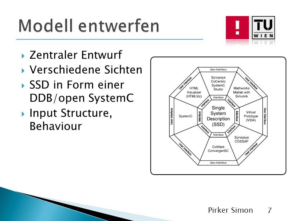 7 Zentraler Entwurf Verschiedene Sichten SSD in Form einer DDB/open SystemC Input Structure, Behaviour