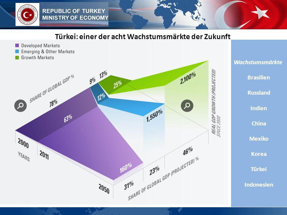 WIRTSCHAFTSPROFIL Türkei: einer der acht Wachstumsmärkte der Zukunft Wachstumsmärkte Brasilien Russland Indien China Mexiko Korea Türkei Indonesien
