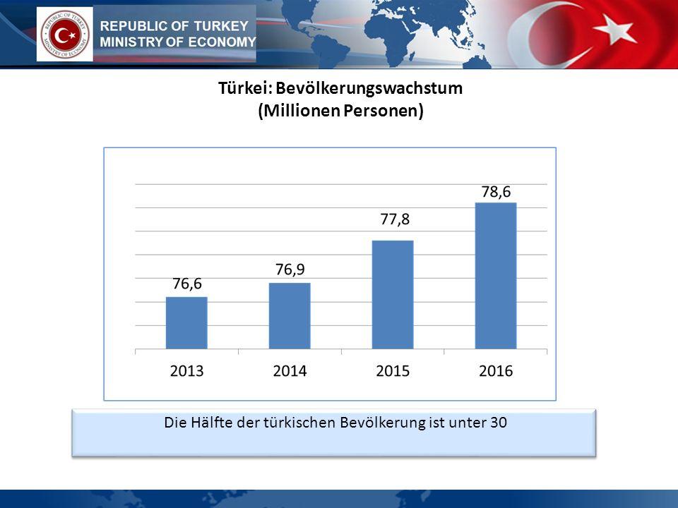 Die Hälfte der türkischen Bevölkerung ist unter 30 Türkei: Bevölkerungswachstum (Millionen Personen)