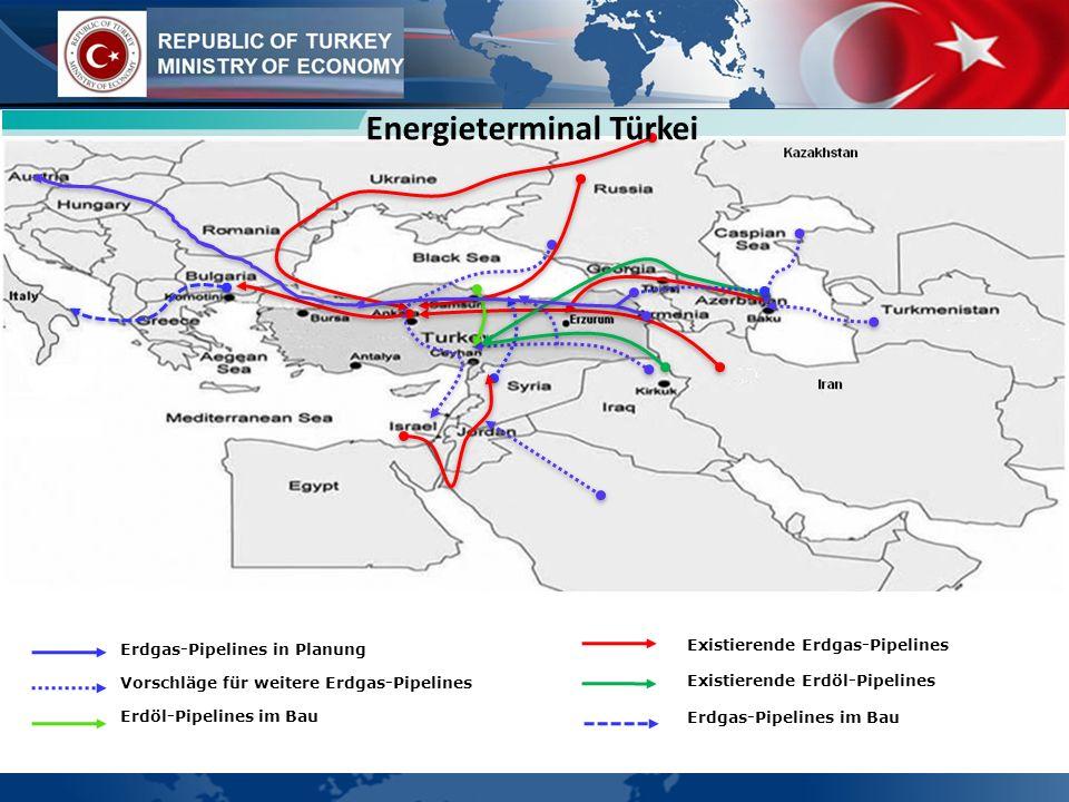 Erdgas-Pipelines in Planung Vorschläge für weitere Erdgas-Pipelines Erdöl-Pipelines im Bau Existierende Erdgas-Pipelines Existierende Erdöl-Pipelines Erdgas-Pipelines im Bau Energieterminal Türkei