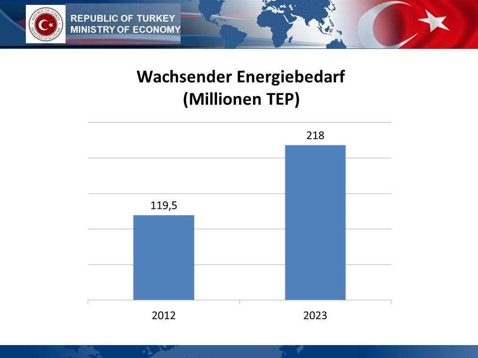 Wachsender Energiebedarf (Millionen TEP)