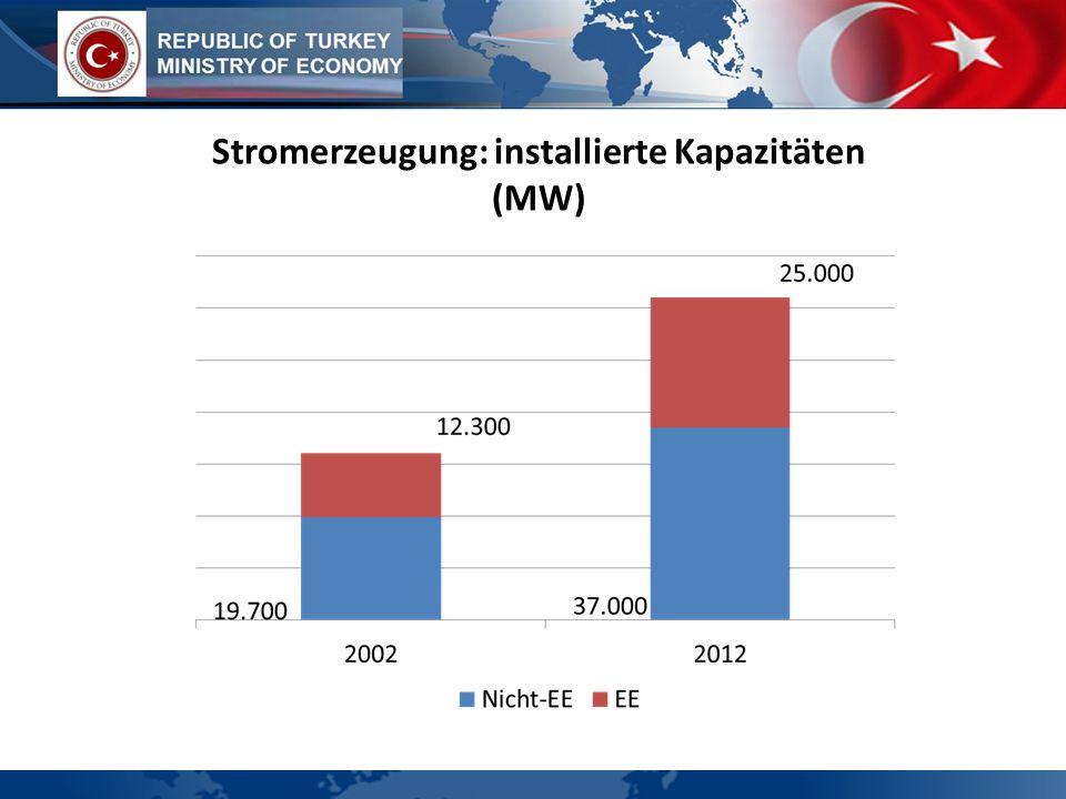 Stromerzeugung: installierte Kapazitäten (MW)