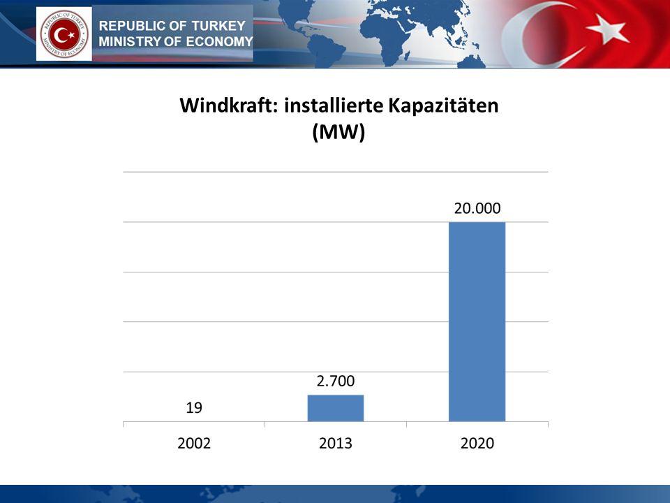 Windkraft: installierte Kapazitäten (MW)