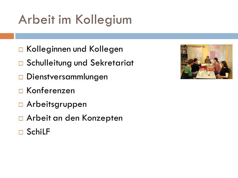 Kolleginnen und Kollegen Schulleitung und Sekretariat Dienstversammlungen Konferenzen Arbeitsgruppen Arbeit an den Konzepten SchiLF