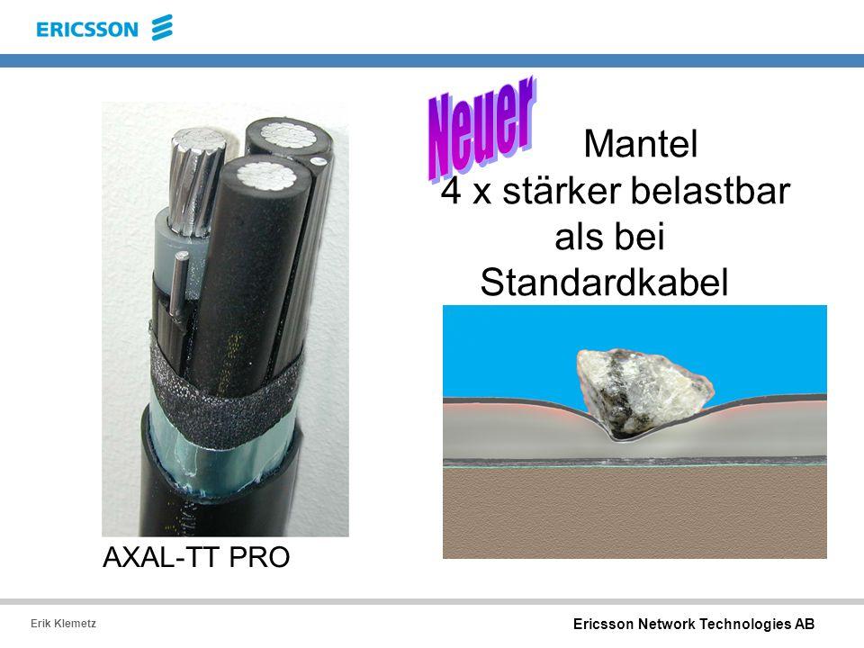 Ericsson Network Technologies AB Erik Klemetz Mantel 4 x stärker belastbar als bei Standardkabel AXAL-TT PRO