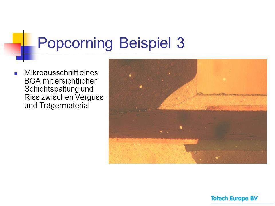 Popcorning Beispiel 3 Mikroausschnitt eines BGA mit ersichtlicher Schichtspaltung und Riss zwischen Verguss- und Trägermaterial