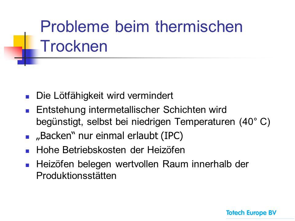 Probleme beim thermischen Trocknen Die Lötfähigkeit wird vermindert Entstehung intermetallischer Schichten wird begünstigt, selbst bei niedrigen Tempe