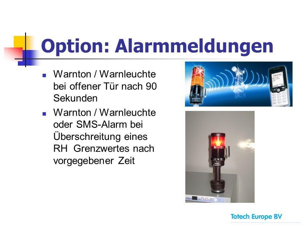 Option: Alarmmeldungen Warnton / Warnleuchte bei offener Tür nach 90 Sekunden Warnton / Warnleuchte oder SMS-Alarm bei Überschreitung eines RH Grenzwe