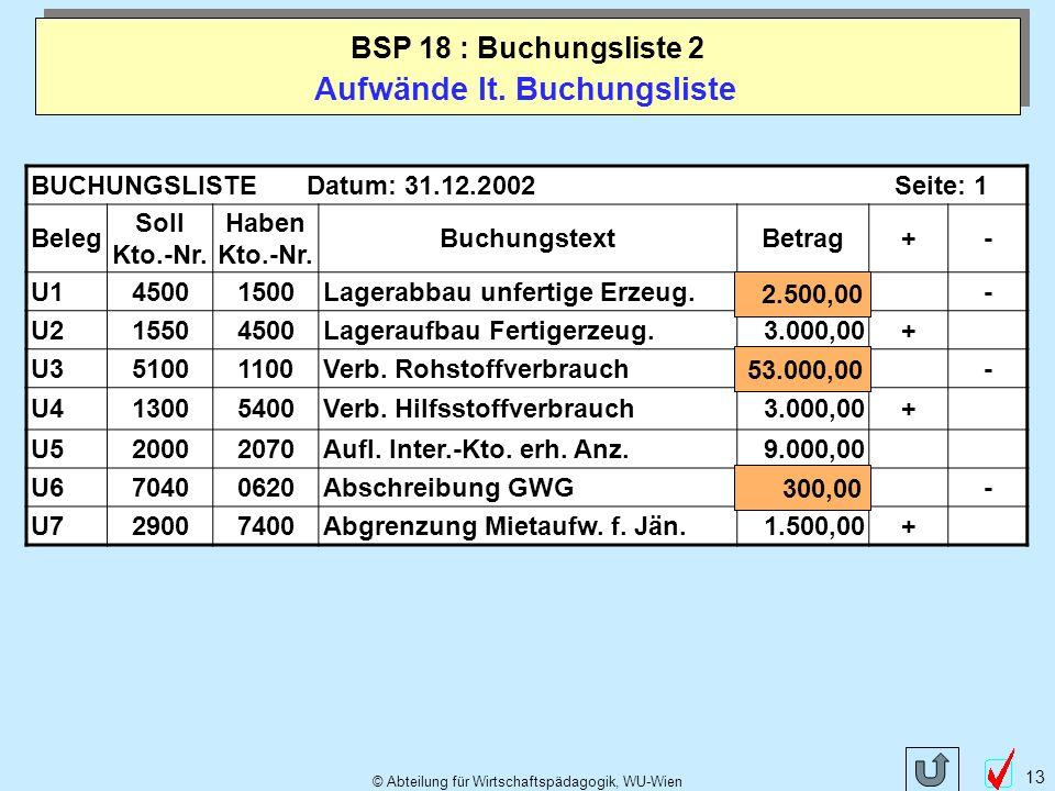 © Abteilung für Wirtschaftspädagogik, WU-Wien 13 Aufwände lt.