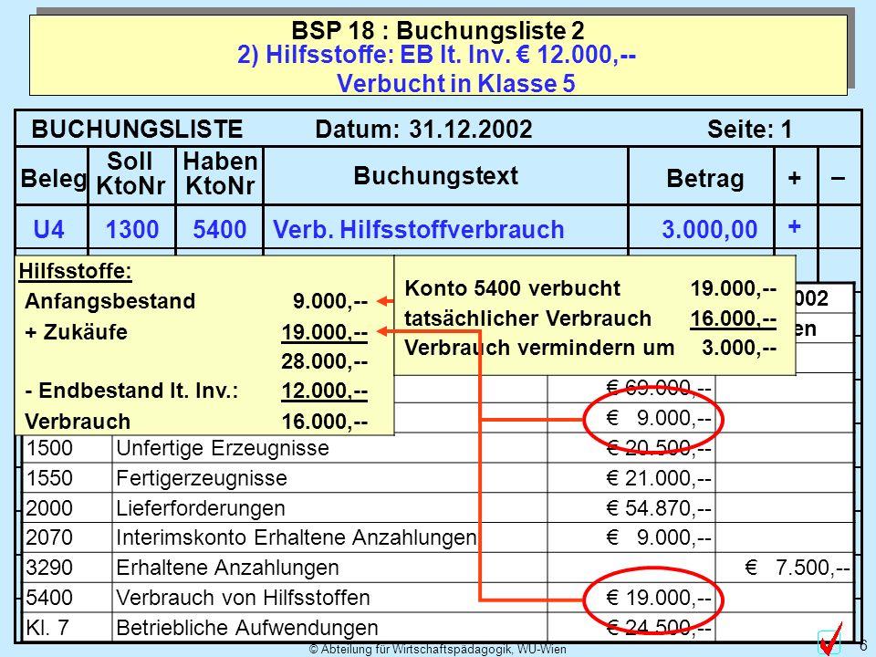 © Abteilung für Wirtschaftspädagogik, WU-Wien 6 2) Hilfsstoffe: EB lt.