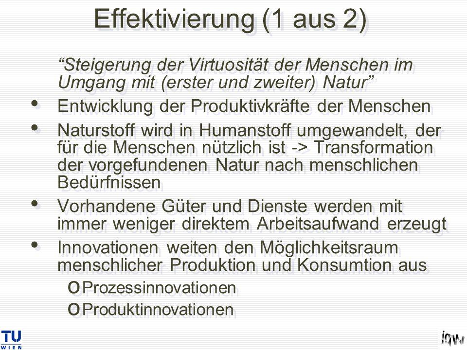 Effektivierung (1 aus 2) Steigerung der Virtuosität der Menschen im Umgang mit (erster und zweiter) Natur Entwicklung der Produktivkräfte der Menschen