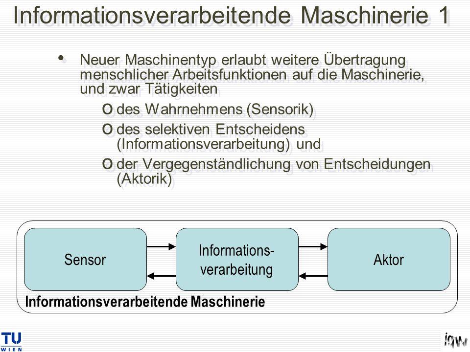 Informationsverarbeitende Maschinerie 1 Neuer Maschinentyp erlaubt weitere Übertragung menschlicher Arbeitsfunktionen auf die Maschinerie, und zwar Tä
