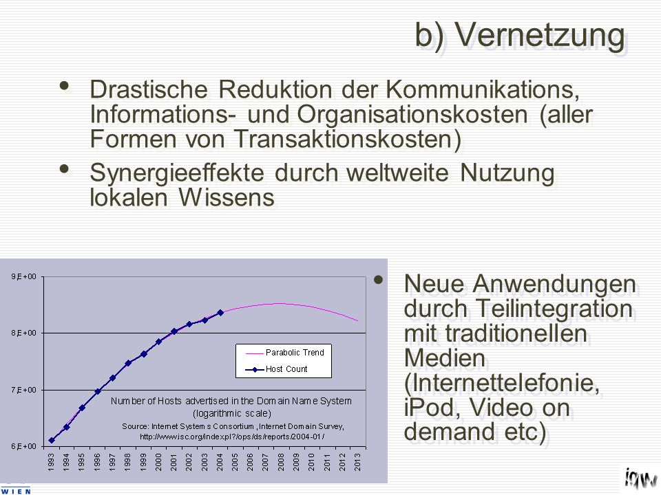 b) Vernetzung Neue Anwendungen durch Teilintegration mit traditionellen Medien (Internettelefonie, iPod, Video on demand etc) Drastische Reduktion der