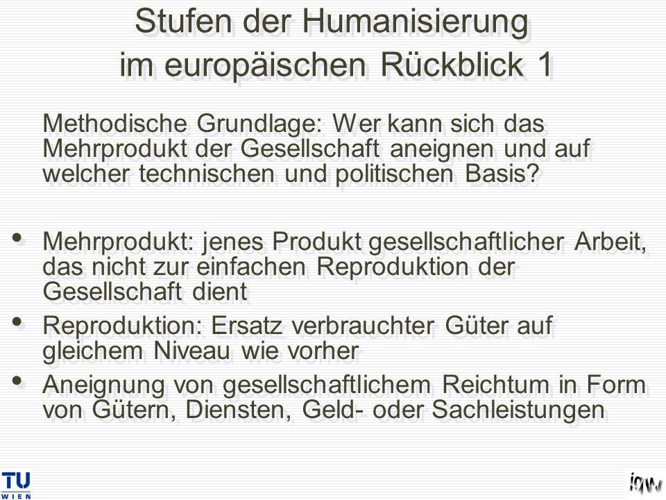 Stufen der Humanisierung im europäischen Rückblick 1 Methodische Grundlage: Wer kann sich das Mehrprodukt der Gesellschaft aneignen und auf welcher te