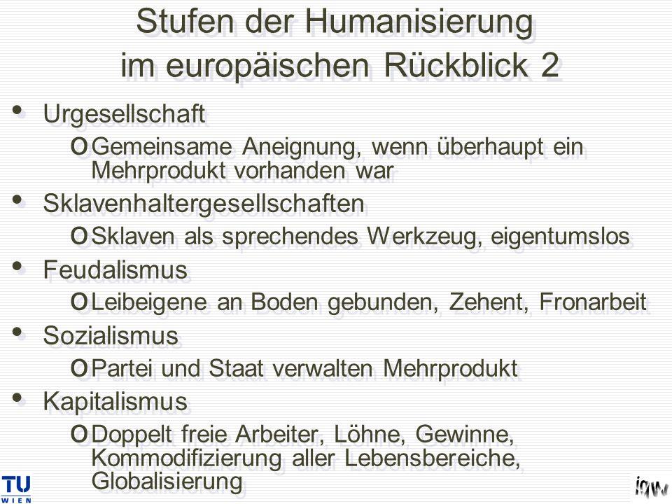 Stufen der Humanisierung im europäischen Rückblick 2 Urgesellschaft o Gemeinsame Aneignung, wenn überhaupt ein Mehrprodukt vorhanden war Sklavenhalter