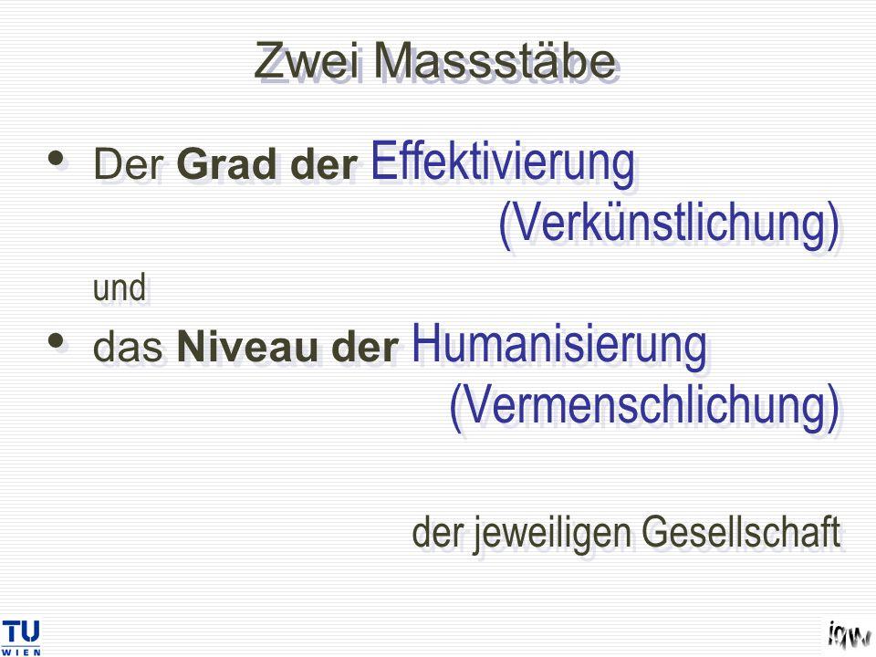 Zwei Massstäbe Der Grad der Effektivierung (Verkünstlichung) und das Niveau der Humanisierung (Vermenschlichung) der jeweiligen Gesellschaft Der Grad