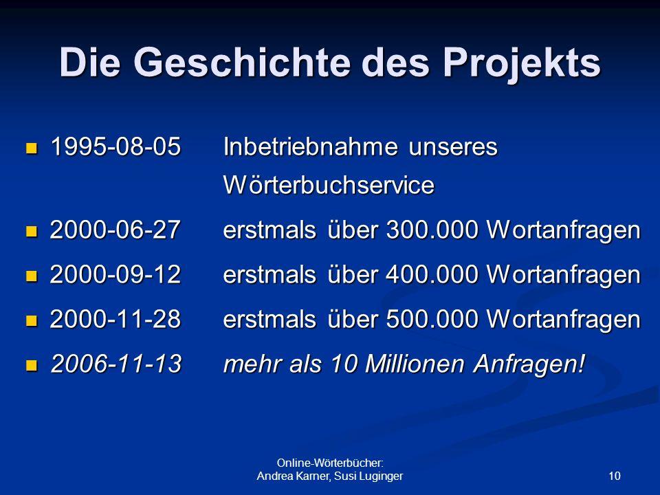10 Online-Wörterbücher: Andrea Karner, Susi Luginger Die Geschichte des Projekts 1995-08-05 Inbetriebnahme unseres Wörterbuchservice 1995-08-05 Inbetr