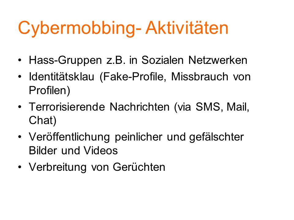 Cybermobbing- Aktivitäten Hass-Gruppen z.B. in Sozialen Netzwerken Identitätsklau (Fake-Profile, Missbrauch von Profilen) Terrorisierende Nachrichten