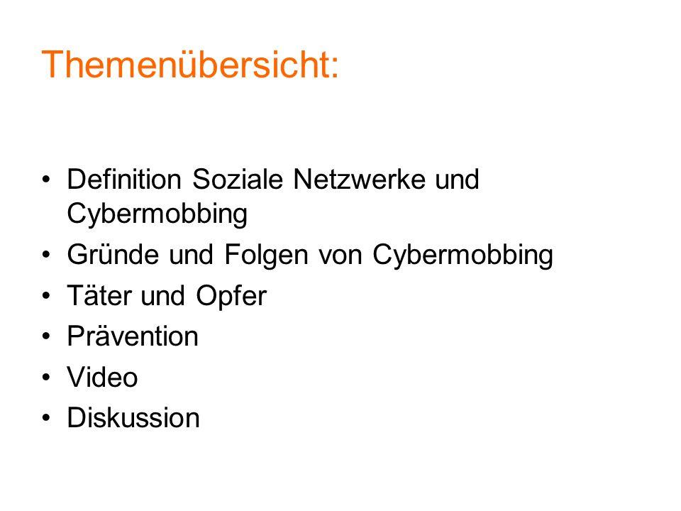 Themenübersicht: Definition Soziale Netzwerke und Cybermobbing Gründe und Folgen von Cybermobbing Täter und Opfer Prävention Video Diskussion