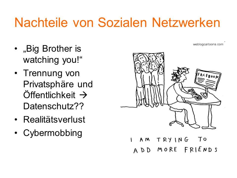 Nachteile von Sozialen Netzwerken Big Brother is watching you! Trennung von Privatsphäre und Öffentlichkeit Datenschutz?? Realitätsverlust Cybermobbin