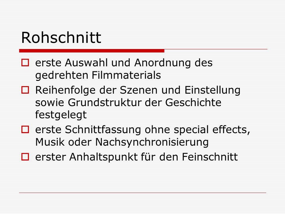 Feinschnitt Jeder Schnitt und jeder Übergang wird einzeln geprüft welche Schnitte oder Überblendungen werden verwendet (Montage) Tempo und Rhythmus sowohl der Einstellungen, der Szenen als auch des Films werden festgelegt