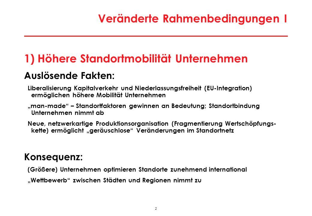 33 Besonderheiten der Wiener Stadtwirtschaft Besondere Lage an ökonomischer Bruchlinie Europas > Enormes Lohnkostendifferenzial auf kurze Distanz > Modernisierungs- und Rationalisierungsdruck; Strukturpeitsche Massiver Strukturwandel Stadtwirtschaft in Bewegung > hohe Gründungs- und Stilllegungsraten; jedes Jahr werden 50.000-70.000 Arbeitsplätze neu geschaffen, aber auch vernichtet > Massive Tertiärisierung; Strukturwandel zu technologie- und qualifikationsintensiven Aktivitäten > Dominanz Dienstleistungsaktivitäten; Zentrenfunktion Gering Exportorientierung > historisch aus Zeit vor Öffnung (Strukturpersistenz); sektoral aus Dienstleistungsorientierung Keine großen Leitsektoren als Ansatzpunkte für Clusterpolitik > diversifizierte Wirtschaftsstruktur (ähnlich Berlin)