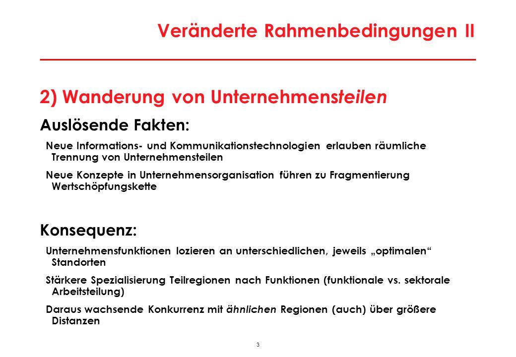 44 Besonderheiten der Wiener Stadtwirtschaft Besondere Lage an ökonomischer Bruchlinie Europas > Enormes Lohnkostendifferenzial auf kurze Distanz > Modernisierungs- und Rationalisierungsdruck; Strukturpeitsche Massiver Strukturwandel Stadtwirtschaft in Bewegung > hohe Gründungs- und Stilllegungsraten; jedes Jahr werden 50.000-70.000 Arbeitsplätze neu geschaffen, aber auch vernichtet > Massive Tertiärisierung; Strukturwandel zu technologie- und qualifikationsintensiven Aktivitäten > Dominanz Dienstleistungsaktivitäten; Zentrenfunktion Geringe Exportorientierung > historisch aus Zeit vor Öffnung (Strukturpersistenz); sektoral aus Dienstleistungsorientierung Keine großen Leitsektoren als Ansatzpunkte für Clusterpolitik > diversifizierte Wirtschaftsstruktur (ähnlich Berlin)