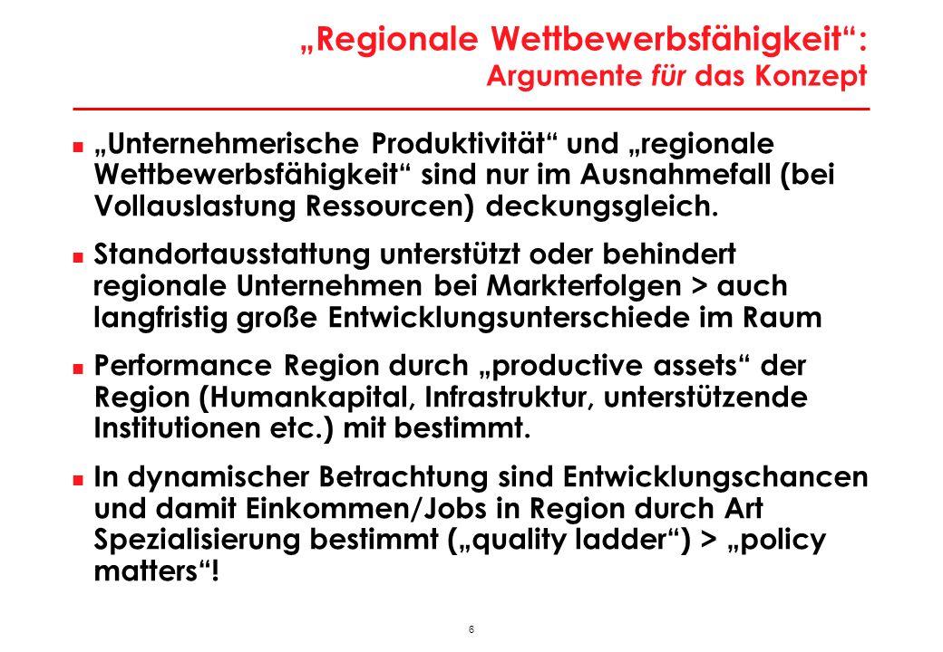 47 Besonderheiten der Wiener Stadtwirtschaft Besondere Lage an ökonomischer Bruchlinie Europas > Enormes Lohnkostendifferenzial auf kurze Distanz > Modernisierungs- und Rationalisierungsdruck; Strukturpeitsche Massiver Strukturwandel Stadtwirtschaft in Bewegung > hohe Gründungs- und Stilllegungsraten; jedes Jahr werden 50.000-70.000 Arbeitsplätze neu geschaffen, aber auch vernichtet > Massive Tertiärisierung; Strukturwandel zu technologie- und qualifikationsintensiven Aktivitäten > Dominanz Dienstleistungsaktivitäten; Zentrenfunktion Gering Exportorientierung > historisch aus Zeit vor Öffnung (Strukturpersistenz); sektoral aus Dienstleistungsorientierung Keine großen Leitsektoren als Ansatzpunkte für Clusterpolitik > diversifizierte Wirtschaftsstruktur (ähnlich Berlin)