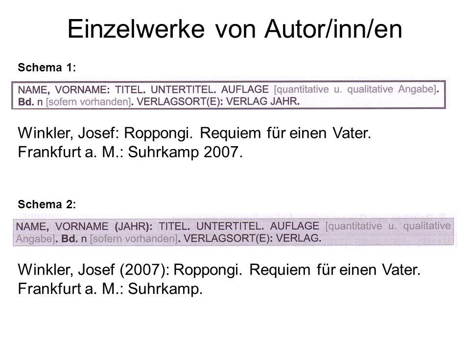 Einzelwerke von Autor/inn/en Schema 1: Schema 2: Winkler, Josef: Roppongi.