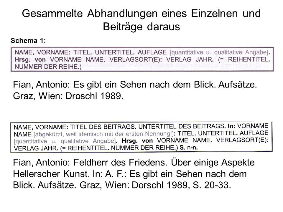 Gesammelte Abhandlungen eines Einzelnen und Beiträge daraus Schema 1: Fian, Antonio: Es gibt ein Sehen nach dem Blick.