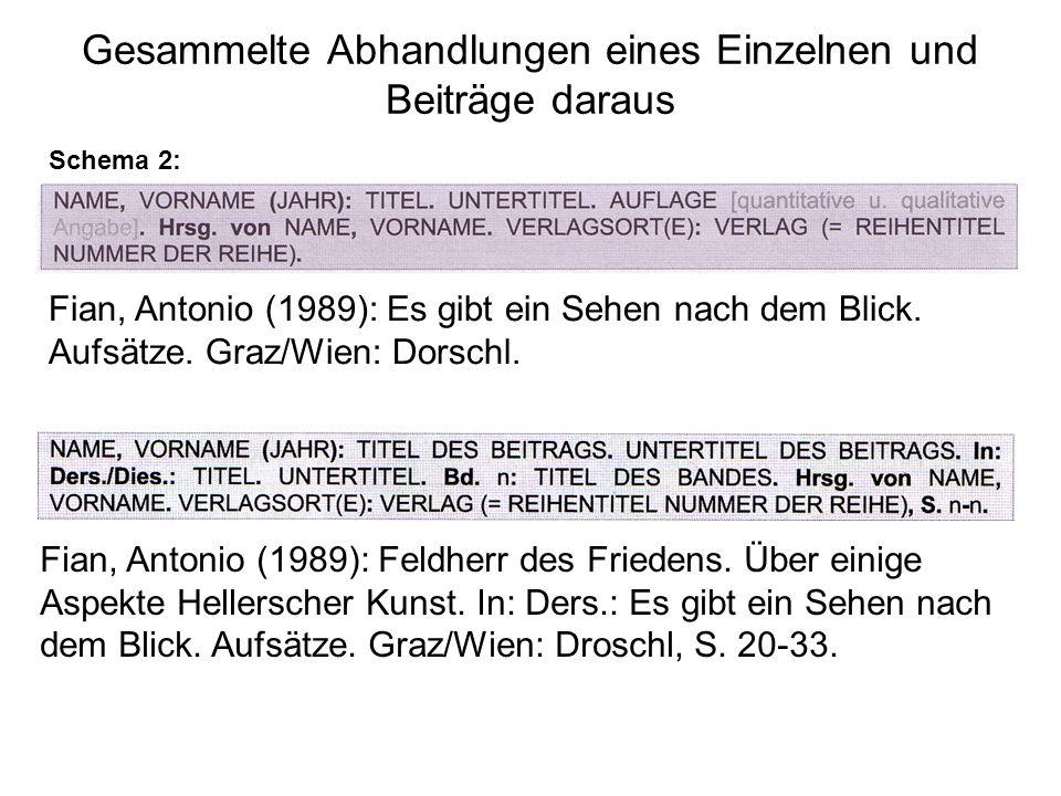 Gesammelte Abhandlungen eines Einzelnen und Beiträge daraus Schema 2: Fian, Antonio (1989): Es gibt ein Sehen nach dem Blick.