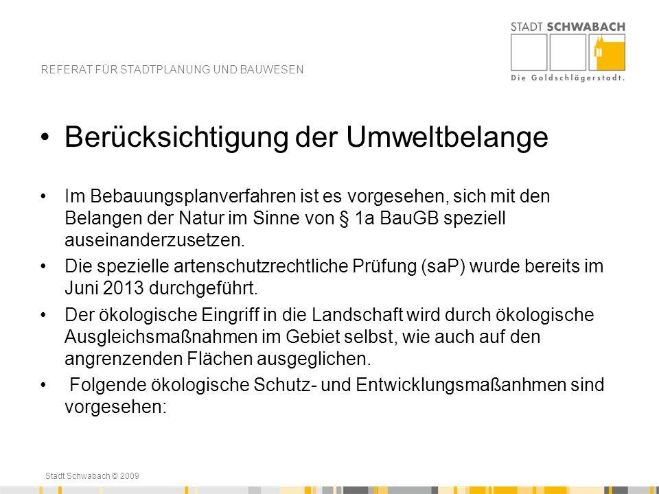 Stadt Schwabach © 2009 Berücksichtigung der Umweltbelange Im Bebauungsplanverfahren ist es vorgesehen, sich mit den Belangen der Natur im Sinne von §